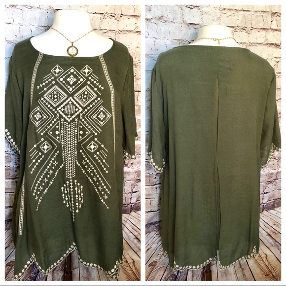 Coldwater Creek olive green embroidered top